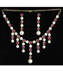 Pearl and Magenta Stone Studded Necklace and Earrings