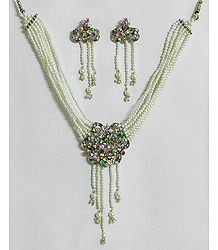 White Pearl Bead Necklace with Multicolor Stone Studded Pendant and Earrings