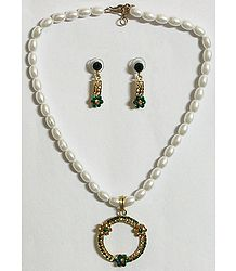 White Pearl Bead Necklace with Green Stone Studded Pendant and Earrings