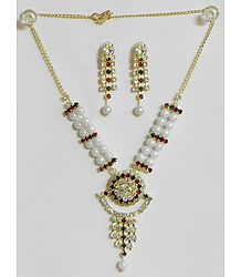White Pearl Necklace with White, Maroon and Green Stone Studded Pendant and Earrings