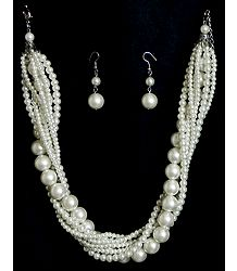 White Pearl Necklace with Earrings