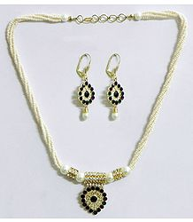 White Bead Necklace with Green and Maroon Stone Studded Pendant and Earrings