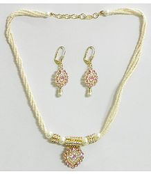 White Bead Necklace with Light Pink Stone Studded Pendant and Earrings