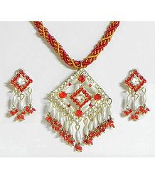 Red and Yellow Twisted Cord Necklace with Red and White Stone Studded and Bead Pendant