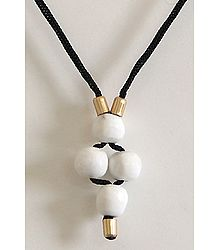 White Stone Pendant with Black Cord