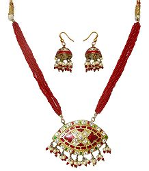 Red Bead Necklace with Meenakari Pendant & Earrings