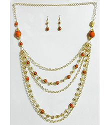 Five Layer Golden Chain with Saffron Bead Necklace and Earrings