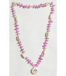 Painted Shell Necklace in Pink with White Cowrie