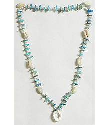 Painted Shell Necklace in Cyan with White Cowrie