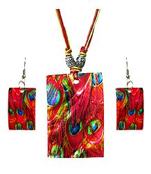 Peacock Feather Print Shell Pendant Set