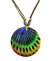 Peacock Feather Square Shell Pendant