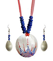 Blue Bead Necklace with Painted Shell Pendant and Adjustable Red Ribbon