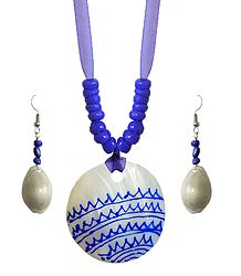 Blue Bead Necklace with Painted Shell Pendant and Adjustable Purple Ribbon