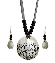 Black Bead Necklace with Painted Shell Pendant and Adjustable Black Ribbon