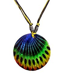 Peacock Feather Round Shell Pendant