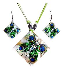 Peacock Feather Square Shell Pendant Set