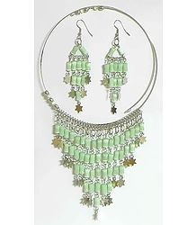 Light Green Beaded Spring Necklace with Jhalar Pendant and Earrings