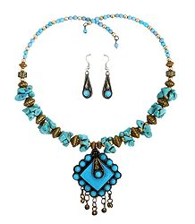 Blue Stone Chips Tibetan Spring Necklace with Earrings