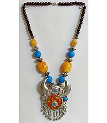 Yellow and Blue Bead Necklace with Metal Horn Pendant