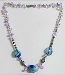 Mauve and Blue Stone Bead Tibetan Necklace