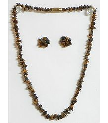 Brown Stone Bead Tibetan Necklace and Earrings