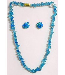 Cyan Stone Bead Necklace and Earrings