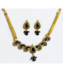 Black Stone Studded Necklace with Earrings