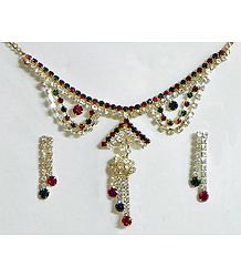 White, Maroon and Green Stone Studded Necklace and Earrings