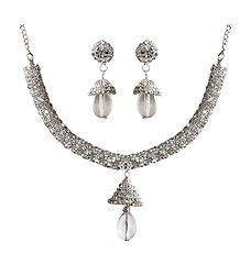 White Stone Studded Necklace with Earrings