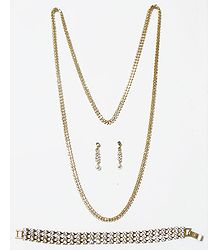 Faux Zirconia Studded Necklace with Bracelet and Earrings