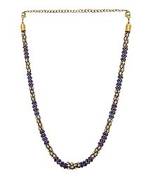 Faux Sapphire and Zirconia Studded Necklace