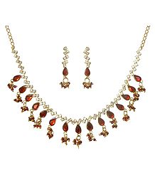 Red & White Stone Studded Necklace & Earrings