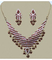 Stone Studded Necklace with Earrings