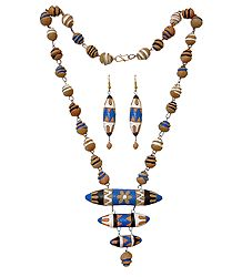 Shop Online Hand Painted Terracotta Necklace and Earrings