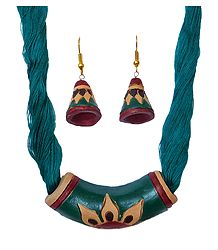 Cyan Blue Terracotta Pendant and Earrings