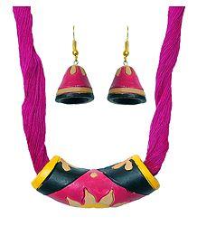Magenta Terracotta Pendant & Earrings