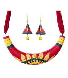 Hand Painted Terracotta Hansuli Necklace Set