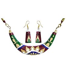 Hand Painted Multicolor Design on Maroon Terracotta Hansuli Necklace and Earrings