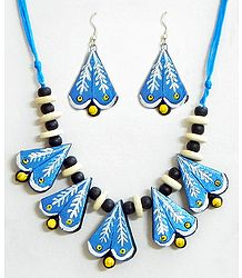 Hand Painted on Blue Terracotta Necklace Set