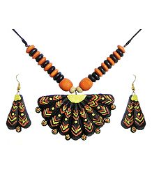 Wooden Bead Necklace with Hand Painted Fan Shaped Terracotta Pendant and Earrings