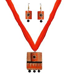 Terracotta Adjustable Necklace with Earrings