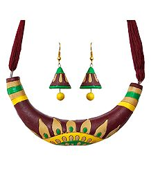 Terracotta Hansuli Necklace and Earrings
