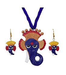 Shop Online Terracotta Ganesha Pendant and Earrings