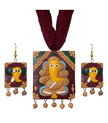 Shop Online Terracotta Ganeha Pendant and Earrings