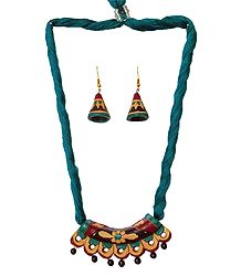 Terracotta Hansuli Pendant & Earrings