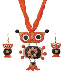 Terracotta Owl Pendant and Earrings