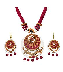 Terracotta Round Pendant & Earrings