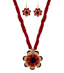 Terracotta Flower Necklace with Earrings