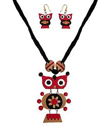 Terracotta Owl Necklace with Earrings