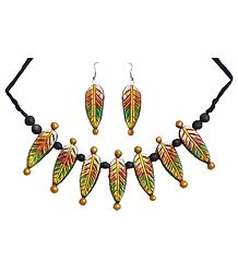 Hand Painted Wooden Bead and Terracotta Leaf Necklace with Earrings
